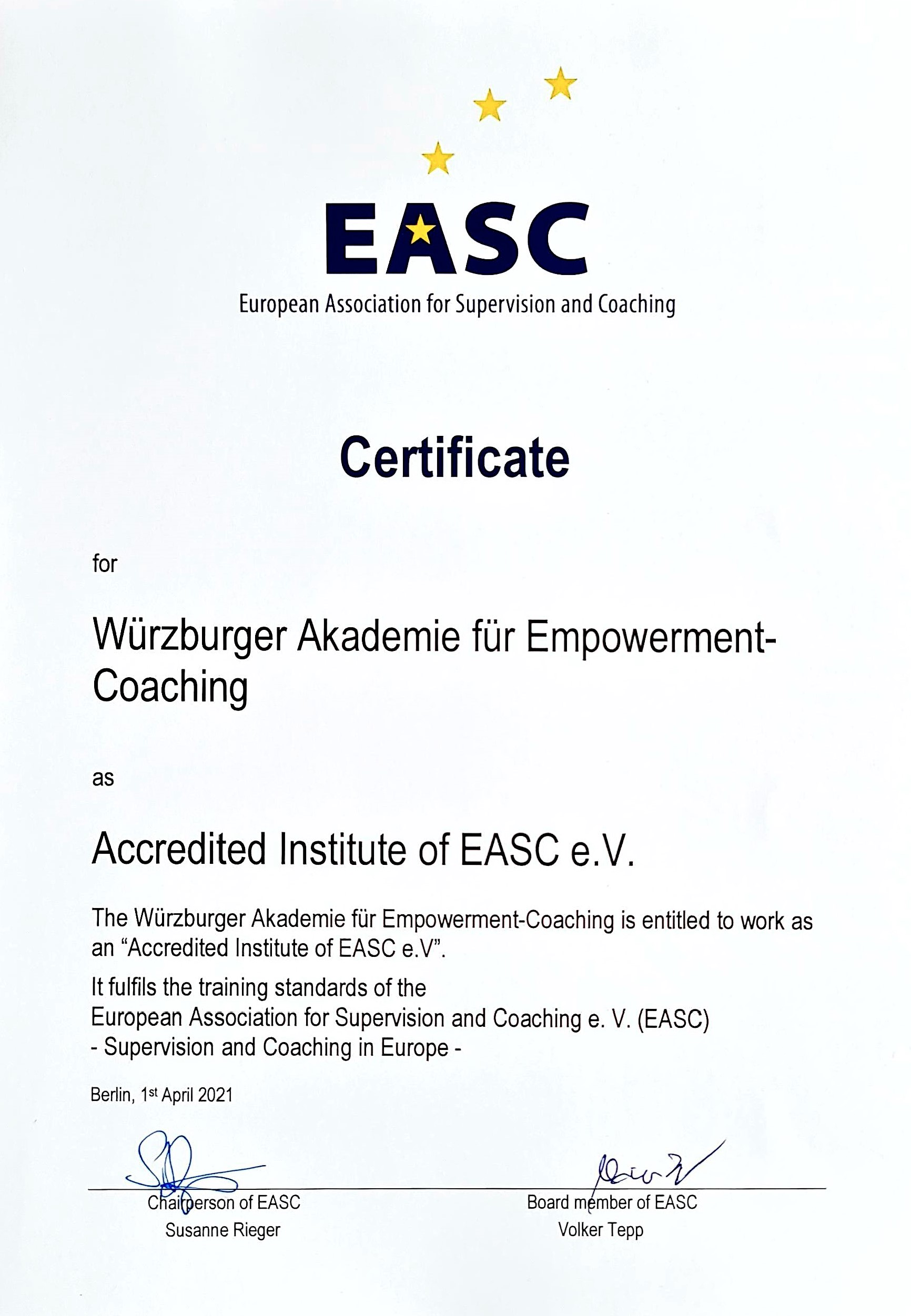 Zertifikat Institut